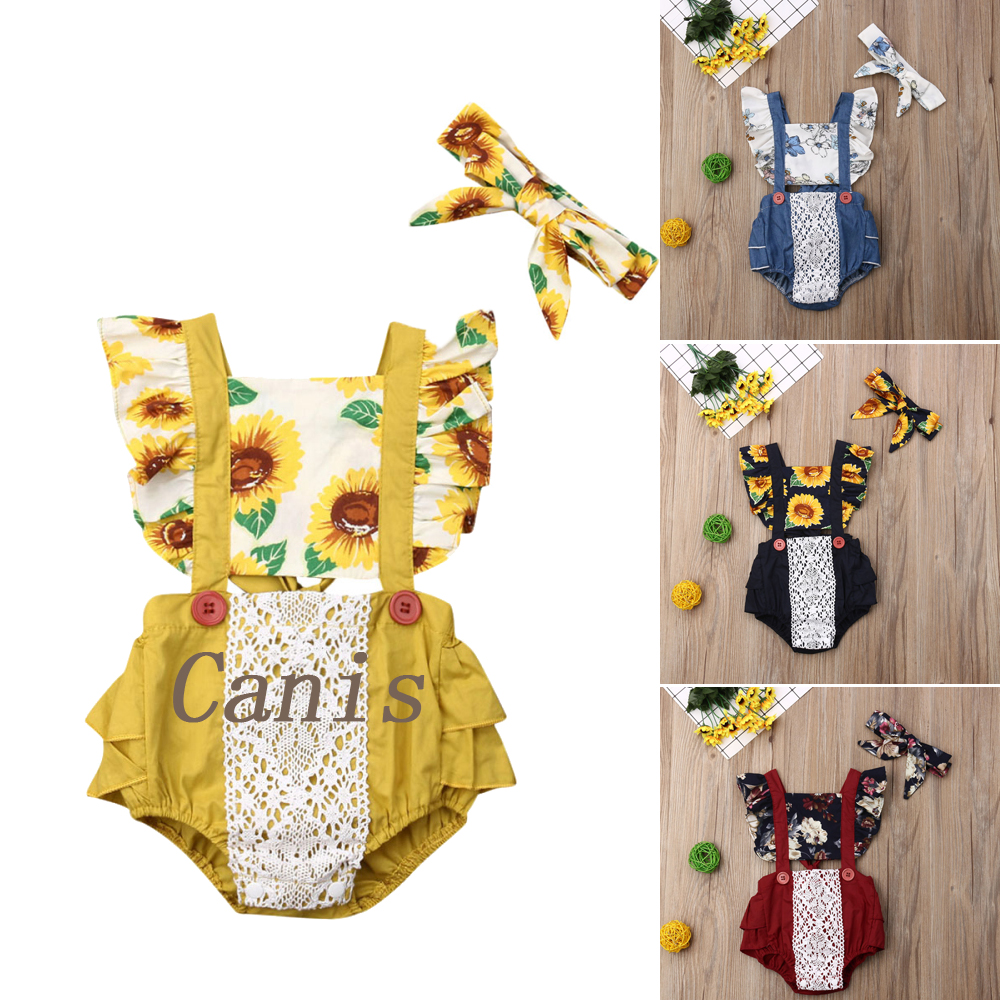 2019 Pudcoco Toddler Baby Girls Flower Lace Sunflower Romper Jumpsuit Outfit Sunsuit Clothes