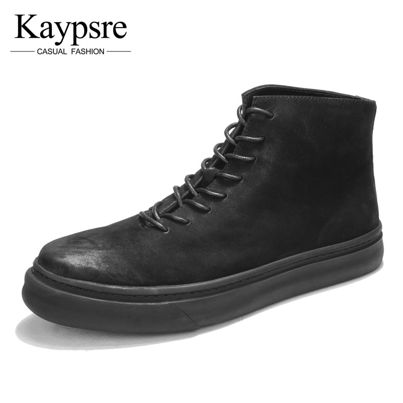 все цены на Kaypsre Army Green cow leather leisure western boots men lace-up winter leather boots онлайн