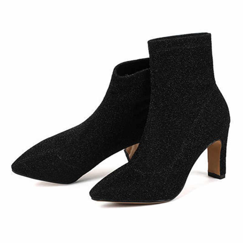 MORAZORA 2018 yeni moda sivri burun payetli kumaş yarım çizmeler moda yüksek topuk kadın çizmeler sonbahar kış bling botları