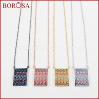 BOROSA Druzy Rectangle CZ Bead Connector CZ Micro Pave Stone Bead Connector Pendant Necklace High Quality Fashion Jewelry WX495