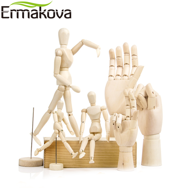 ERMAKOVA Wooden Mannequin Hand Drawing Sketch Mannequin Model Wooden Manikin With Stand Movable Limbs Human Artist Model