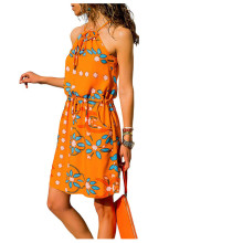 Summer Women Floral Dress Sleeveless Sexy Lace Up Sun Beach Ladies Mini