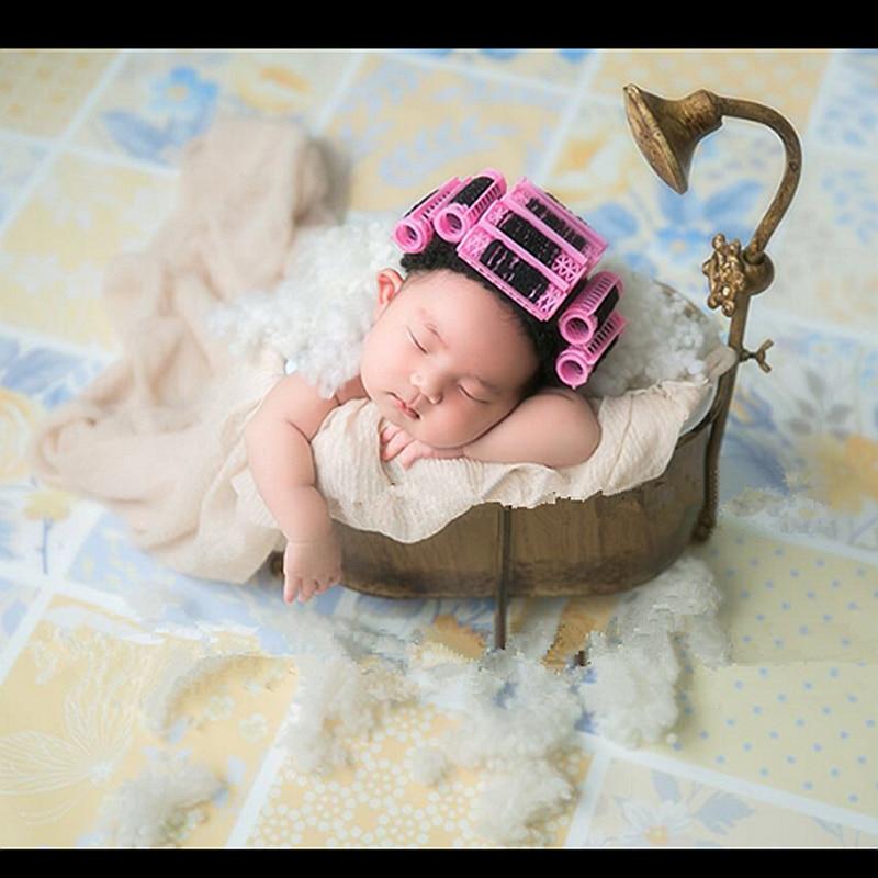 2019 New born Giocattoli per la Fotografia Neonato Puntelli del Bambino di trasporto Asciugacapelli Set Mini Perm Canne cap Germogli Photo Prop Accessori Per Capelli stile