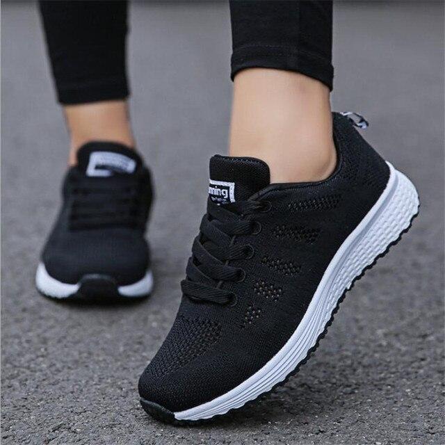 משלוח מהיר נשים נעליים יומיומיות אופנה לנשימה הליכה רשת תחרה עד שטוח נעלי סניקרס נשים 2018 tenis feminino
