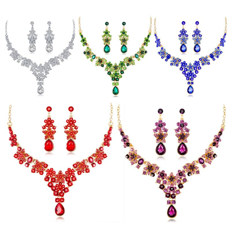1 Set Necklace Earrings Drop Pendant Jewelry Elegant Multi Color Lady Crystal