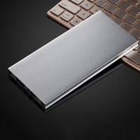 Ultra Thin 10000MAH External Power Bank Portable Size 2USB Aluminum Alloy Battery Charger Battery Power Supply