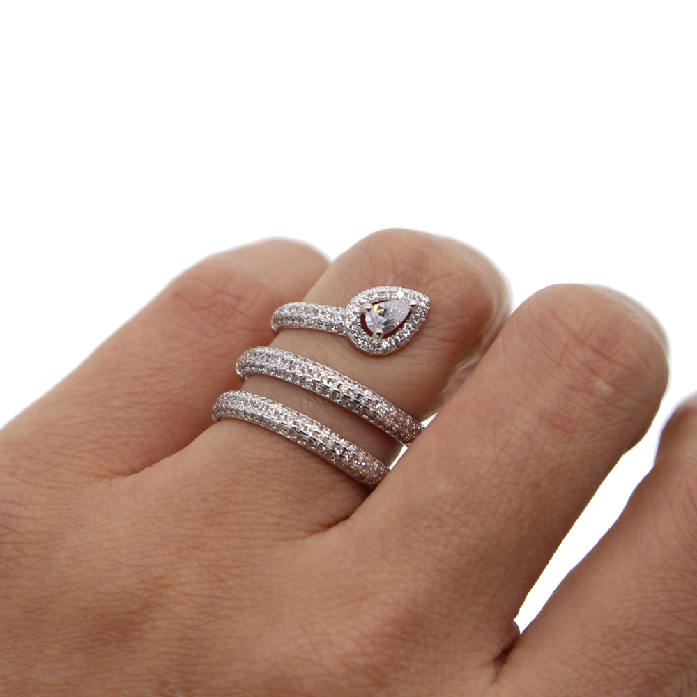 fashion multi wrap cz finger ring european silver color women trendy jewelry micro pave water drop cz rings