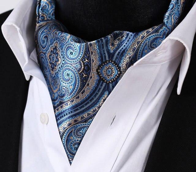 RF404B Blue Beige Floral Silk Cravat Woven Ascot Tie Pocket Square Handkerchief Suit Set 1