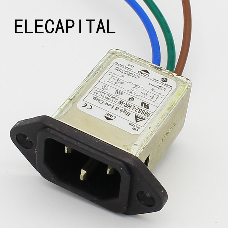 panel mounting 3 pins ac socket 8A EMI filter 115/250VAC 8A 50/60Hz High & Low Corp. EMI power filter Connector dynacord dynacord d 8a