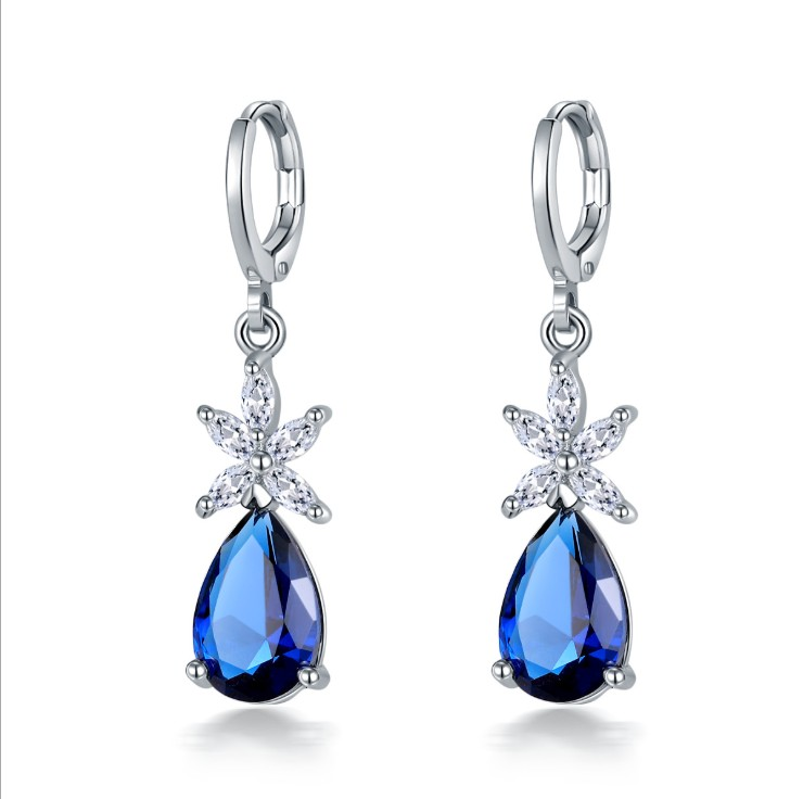 New Popular Zircon Earrings Fashion Drop-shaped Earrings Woman Crystal From Austrian Simple Temperament Wild Anti-allergic