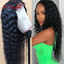 13*4 Lace Frontal Human Hair Wig Pre Plucked With Baby Hair Peruvian Water Wave Human Hair Lace Front Wigs With Baby Hair(China)