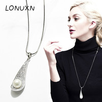 High quality 925 sterling silver Natural freshwater pearl leaf shell pendant girls gift necklace with chain Jewelry For Women
