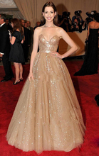 Hot ! New 2019 Sexy Golden Sequin Dazzling Sweetheart Anne Hathaway A - Line Train Celebrity Dresses Prom Evening Gowns CH-1394