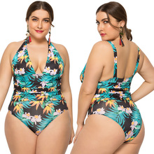 2019 summer Europe and America Womens New Summer One piece swimsuit sexy ladies plus fertilizer XL printed