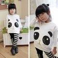 2016 Nueva Moda Niños Niñas Ropa de Bebé de Kawaii Panda Batwing Manga Larga Camiseta A Rayas Top + Leggings 2 UNIDS niños Set