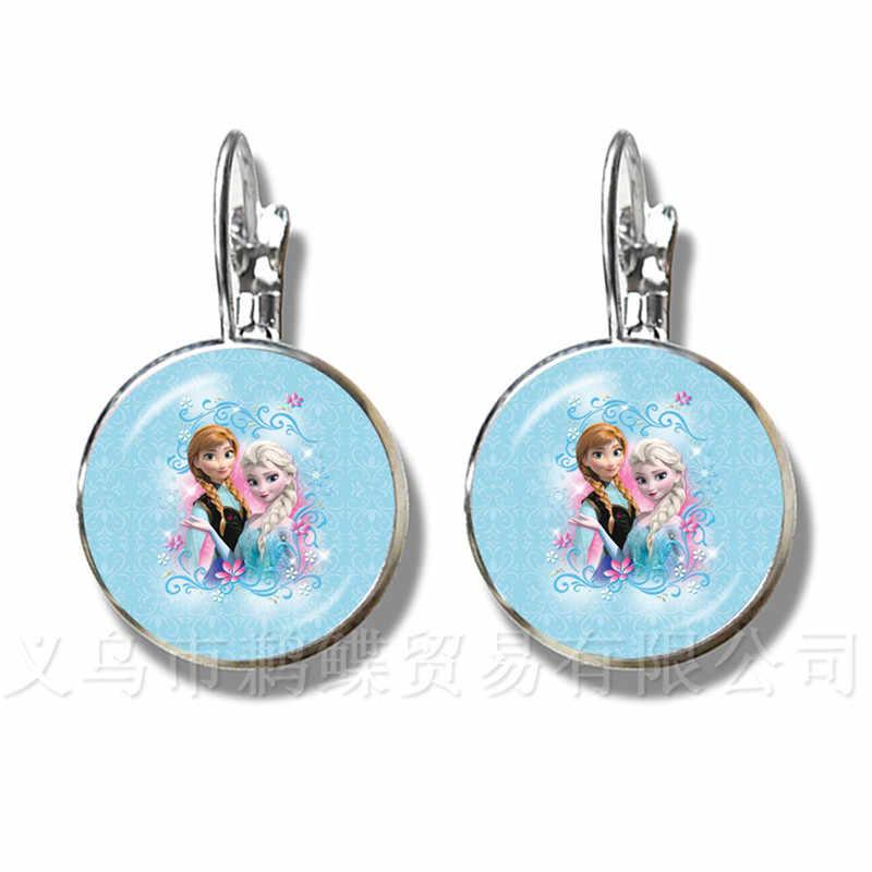 חלומי שלג מלכת עגילי אלזה אנה נסיכת פיות זכוכית קרושון כסף מצופה עגילי עבור בנות להתאמה אישית