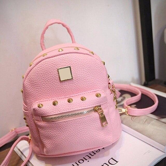 2016 Fashion Women PU Leather Backpacks Sweet Girls Preppy Style School Bag Female Candy Color Small Travel Rucksack Mochila