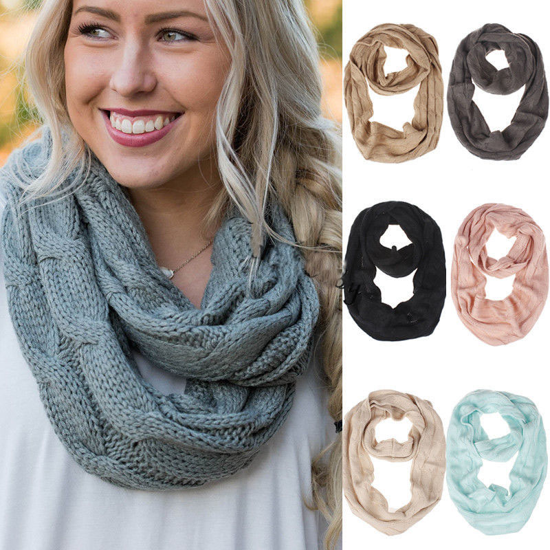 US $5 7 |2019 Fashion Women Winter Warm 2 Circle Cable Knit Cowl Neck Long  Scarf Shawl Circle Sweater Ring Scarf-in Women's Scarves from Apparel