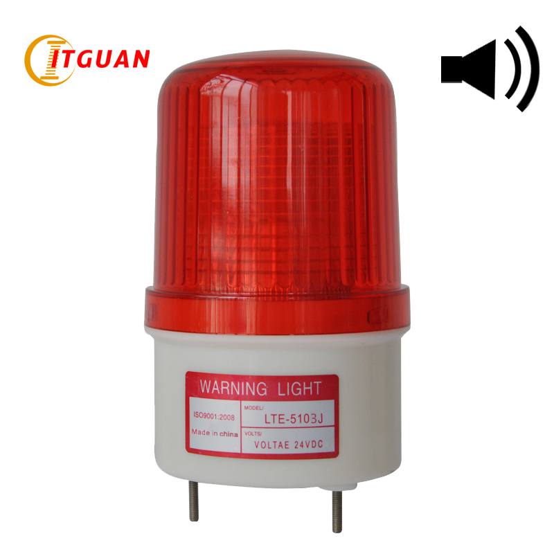 LTE-5103J led strobe light siren industrial high quality  flashing amber white sound alarm light with buzzer 90dB dc 24v electronic red led flashing alarm buzzer siren 100db bj 3