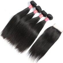 7A Peruvian Virgin Hair straight with Closure Ms Lula Hair with Closure and Bundles Cheap Human Hair 4 Bundles with closure