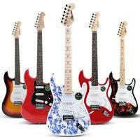 Массив липы Электрогитары SRV Ретро реликвии ST электронная гитара набор для начинающих включает цифровой тюнер строк, берет, мешок