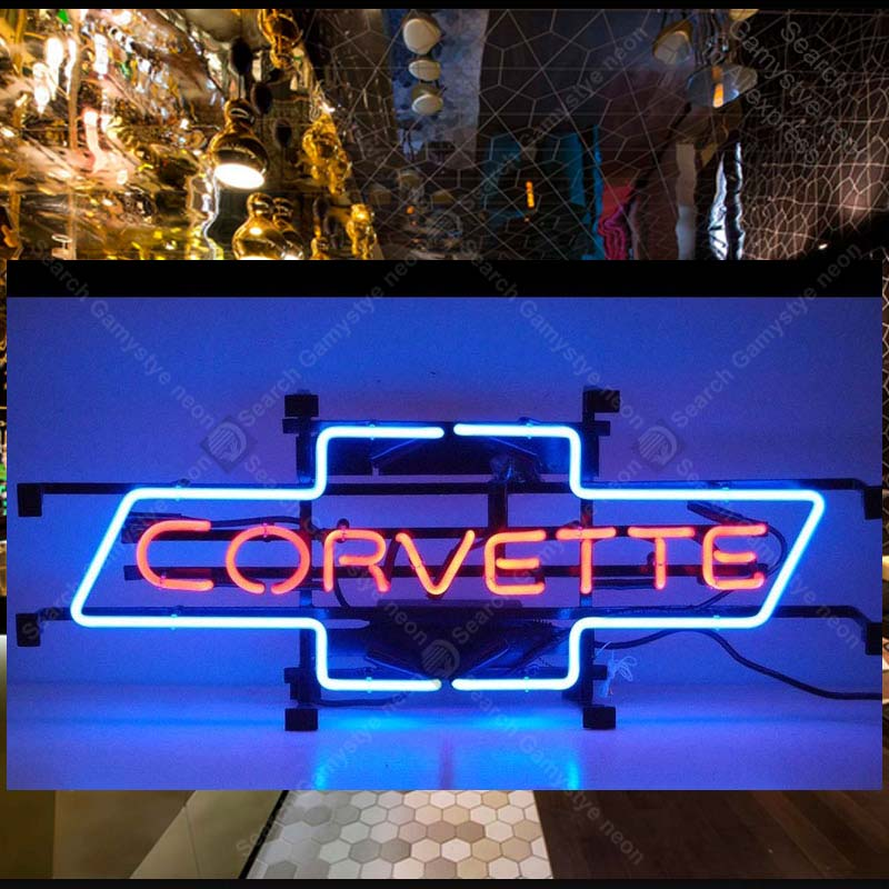 Motorcycles Corvet Bowtie Neon Signs Handcrafted Neon Bulb Beer Bar Pub Glass Tube Iconic Sign Professional Light Car LOGO все цены