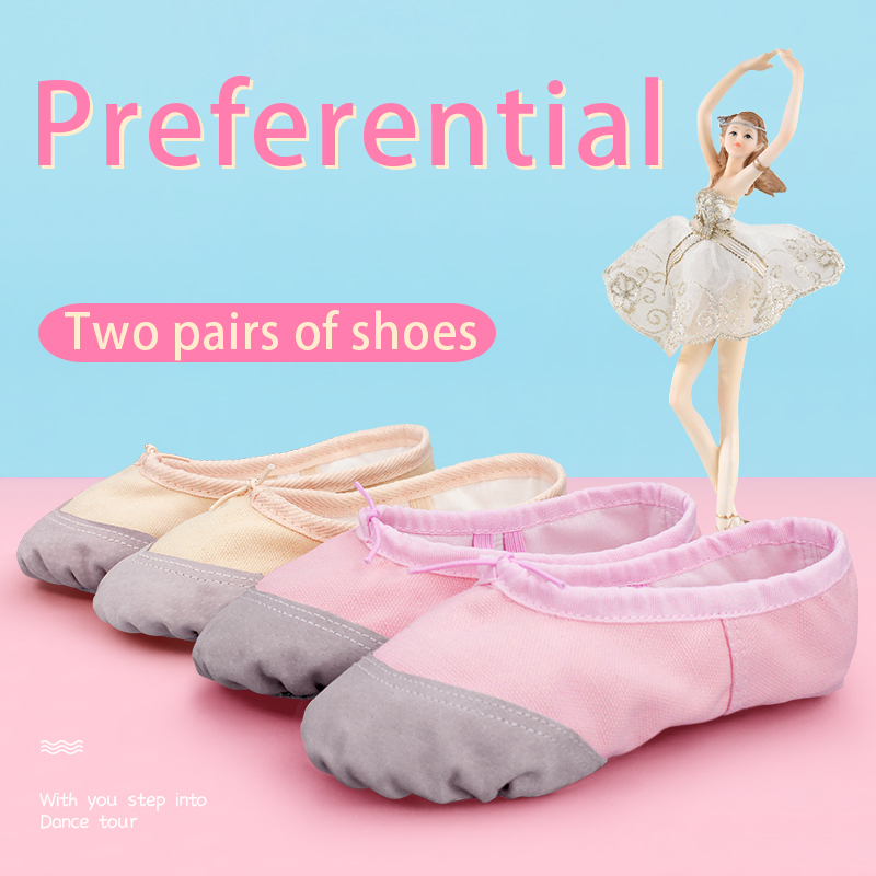 Toddler Girls Ballet Shoes Dance Slippers Soft Split Sole Pig Leather Pointe Shoes Gymnastics Yoga Dance Shoes 2 Pairs