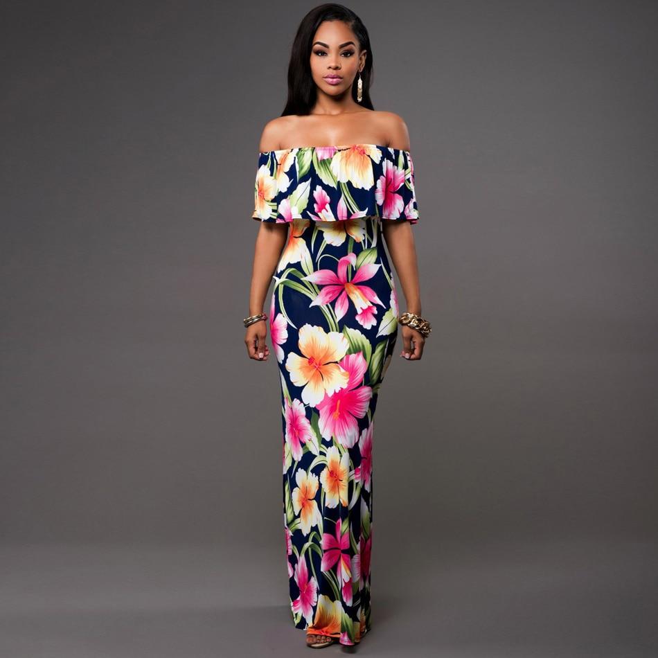 Off Shoulder Dress Bohemian Women Fashion Summer Maxi Dress Plus