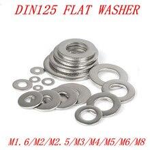 100 шт./50 шт. M1.6 m2 M2.5 M3 M4 M5 M6 M8 DIN125 304 Нержавеющая сталь шайба плоская шайба прокладки
