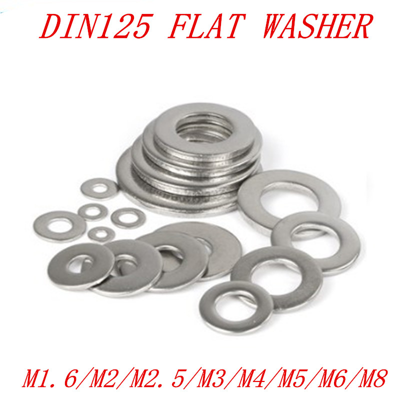 100PCS/50pcs M1.6 m2 M2.5 M3 M4 M5 M6 M8 DIN125 304 Stainless Steel Flat Washer Plain Washer Gaskets image