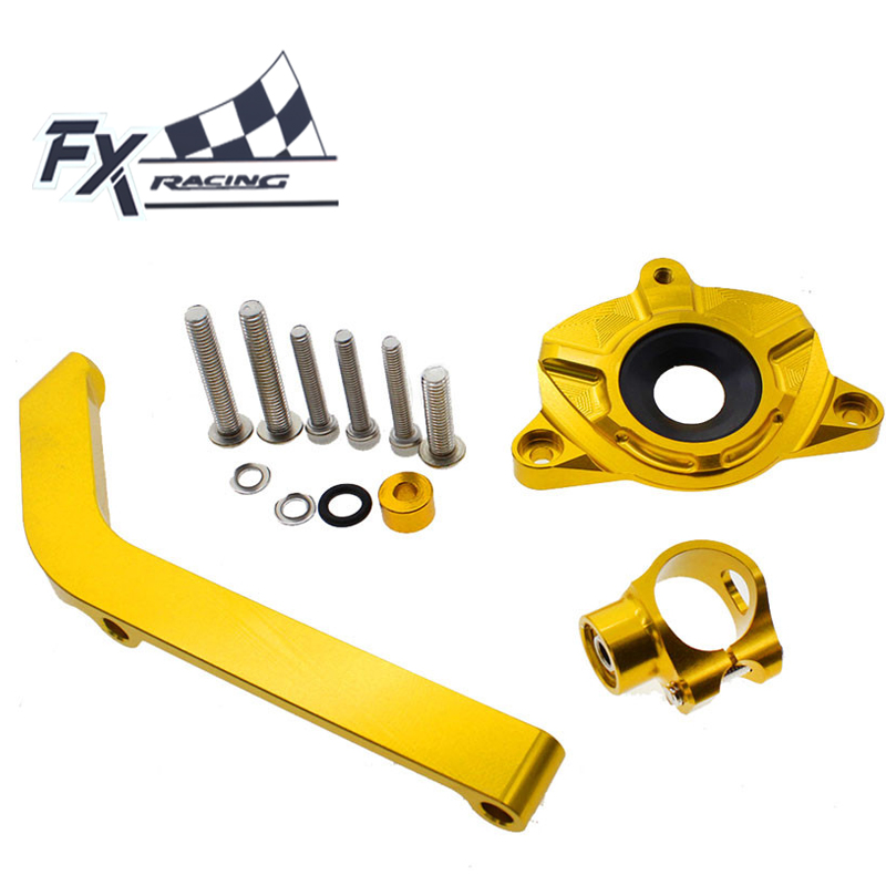FXCNC Aluminum Motorcycle Steering Stabilizer Damper Mounting Bracket Support Kit For Kawasaki Z1000 2014 - 2016 2015