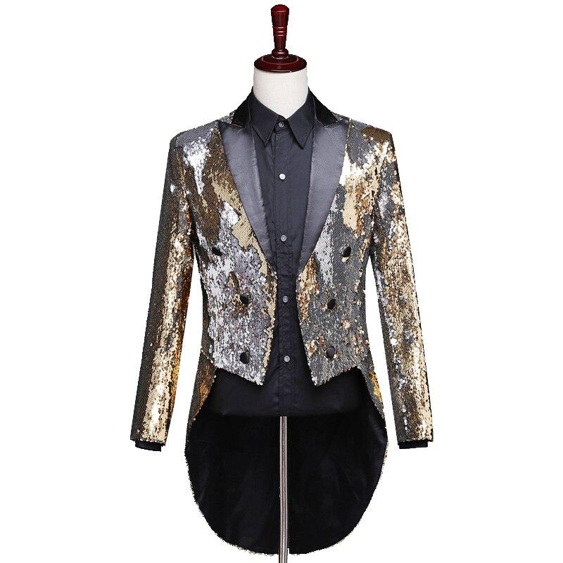 Reflector láser para hombre Swallowtail Gold Purple Tail abrigos noche Club moda Variable colores colas mago cantante baile disfraz - 2