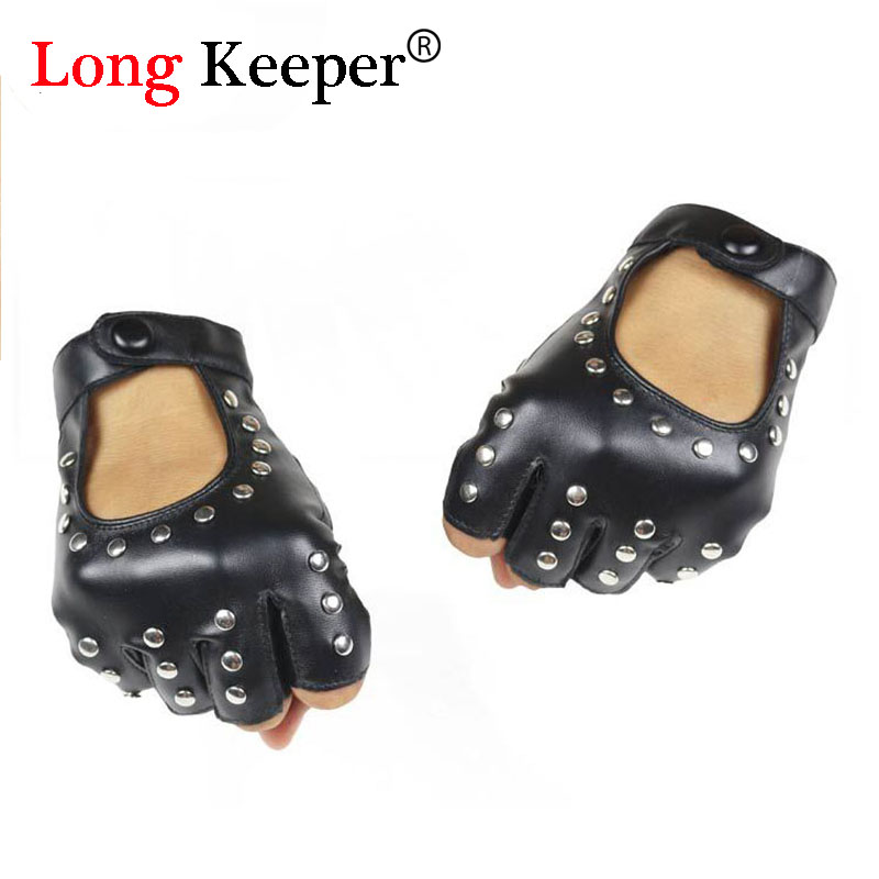 ୧ʕ ʔ୨Long Keeper mujeres remaches PU Semi-dedo hombres Rivet PU ...