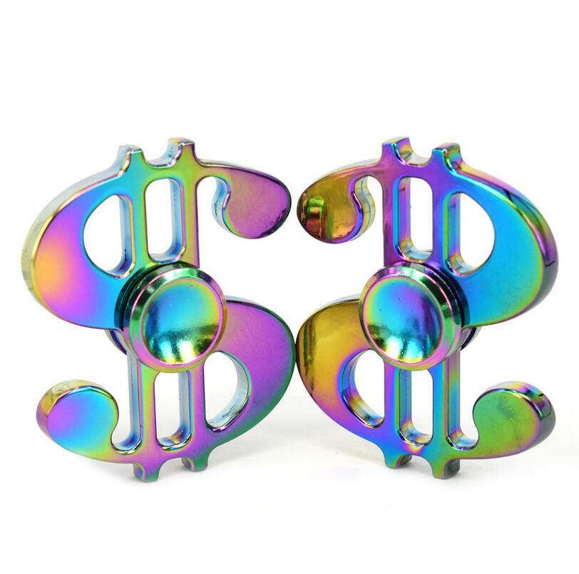 Rainbow Colorful Dollar Sign $ Zinc Fidget Spinner Hand Spinner For Better Focus Reduce Autism ADHD Stress Toys With Gift Box
