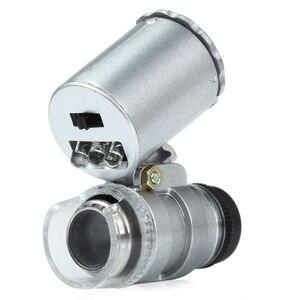 مصغرة 60x المحمولة المجهر العدسة العملات مع LED و الأشعة فوق البنفسجية ضوء