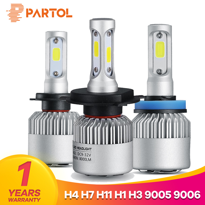 Partol H4 Car LED Headlight Bulbs 72W 8000LM H7 LED H11 Auto LED H1 Headlamp 9005 9006 Car Lights Automobile Headlamp 6500K 12V