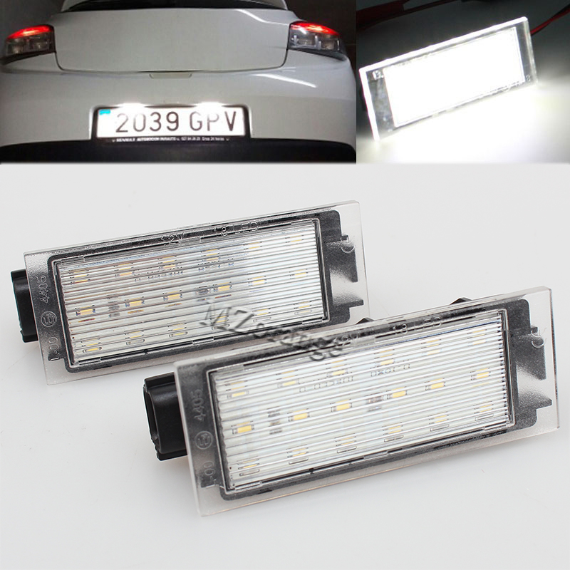2X Car LED License Plate Light 12V SMD3528 18 LED Lamp For Renault Megane 2 3