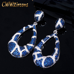 CWWZircons Unique Snake Design Micro Pave Cubic Zirconia Round Drop Dark Blue Earring for Women Fashion Brand Jewelry CZ420