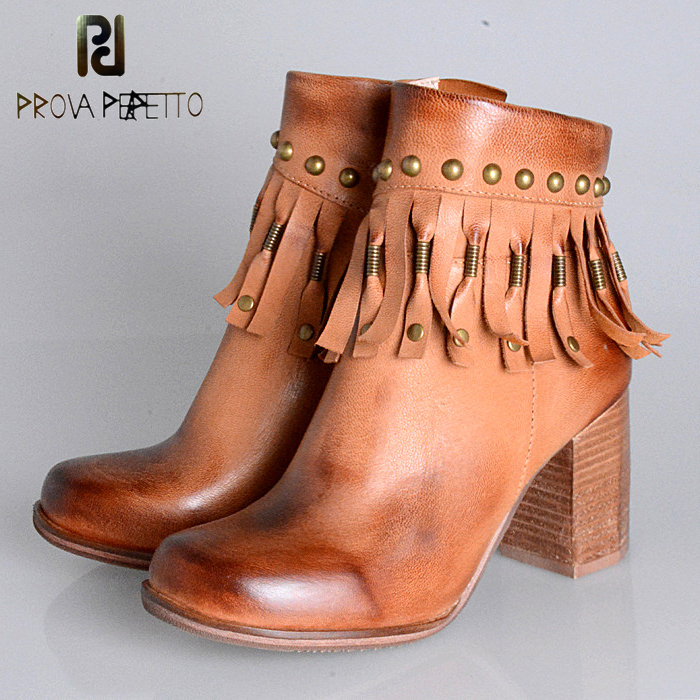 Prova Perfetto Fringed Women Ankle Boots Chunky High Heel Booties Genuine Leather Botas Mujer Rivet Tassels Martin Boots prova perfetto 2017 winter women warm snow boots buckle straps genuine leather low heel fur boots retro mid calf botas mujer