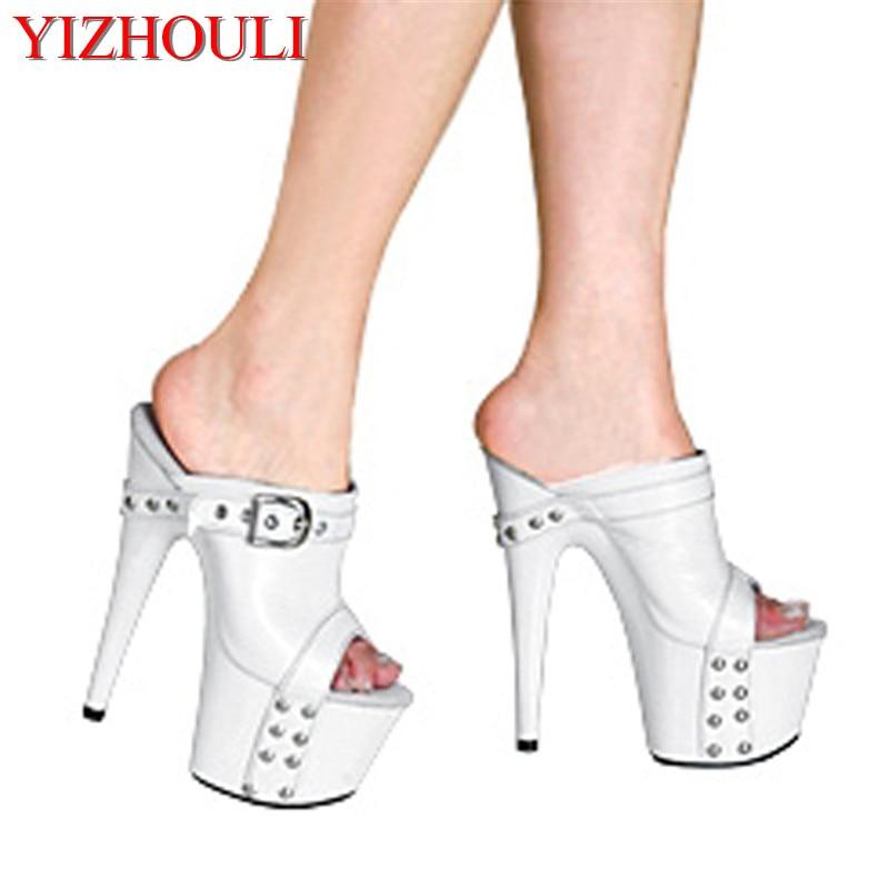 Zapatos de plataforma para mujer 17 cm tacones Ultra altos Zapatillas Zapatos de 7 pulgadas zapatos de tacón alto hechos a mano blanco-in Zapatillas from zapatos    1