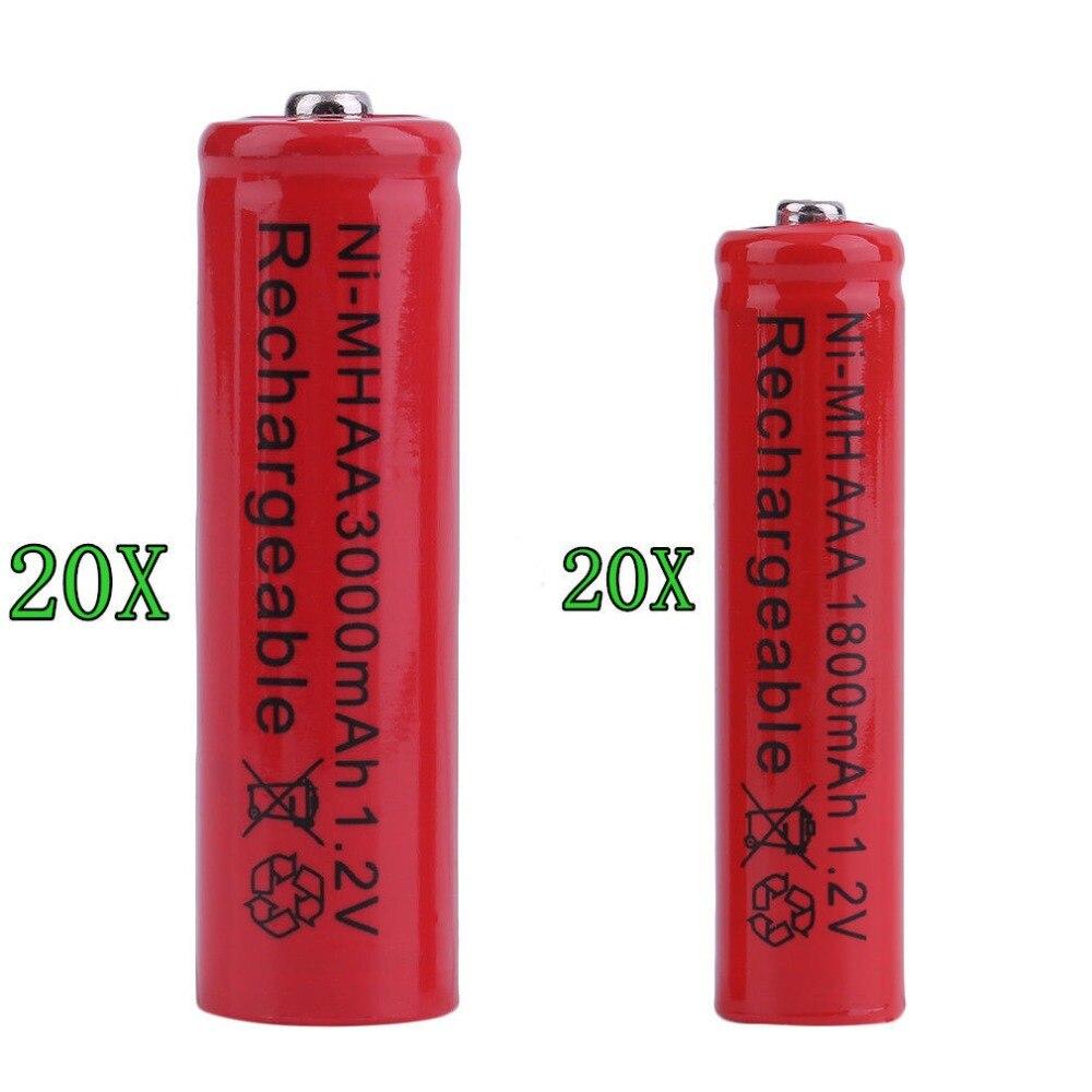 GTF 20PCS AAA / AA 3000mAh NI-MH 1.2V Rechargeable Battery AAA 3A Rechargeable Battery NI-MH Camera, Camera Toy Battery