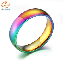 Men Women Rainbow Colorful Ring Titanium Steel Wedding Band Ring Width 6mm Size 5-13Gift