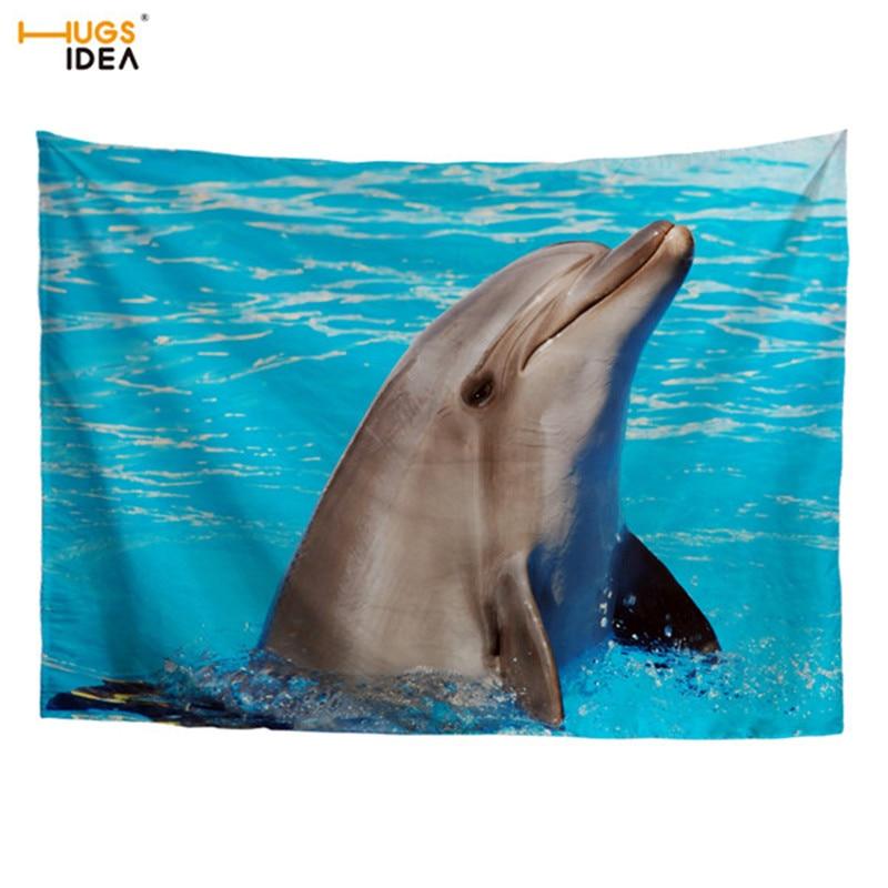 Obedient Hugsidea Cool 3d Animal Tapestry Shark Dolphin Dinosaur Art Wall Hanging Gobelin Living Room Decor Crafts Table Cloth Yoga Matt Fine Craftsmanship Home Textile Carpets & Rugs