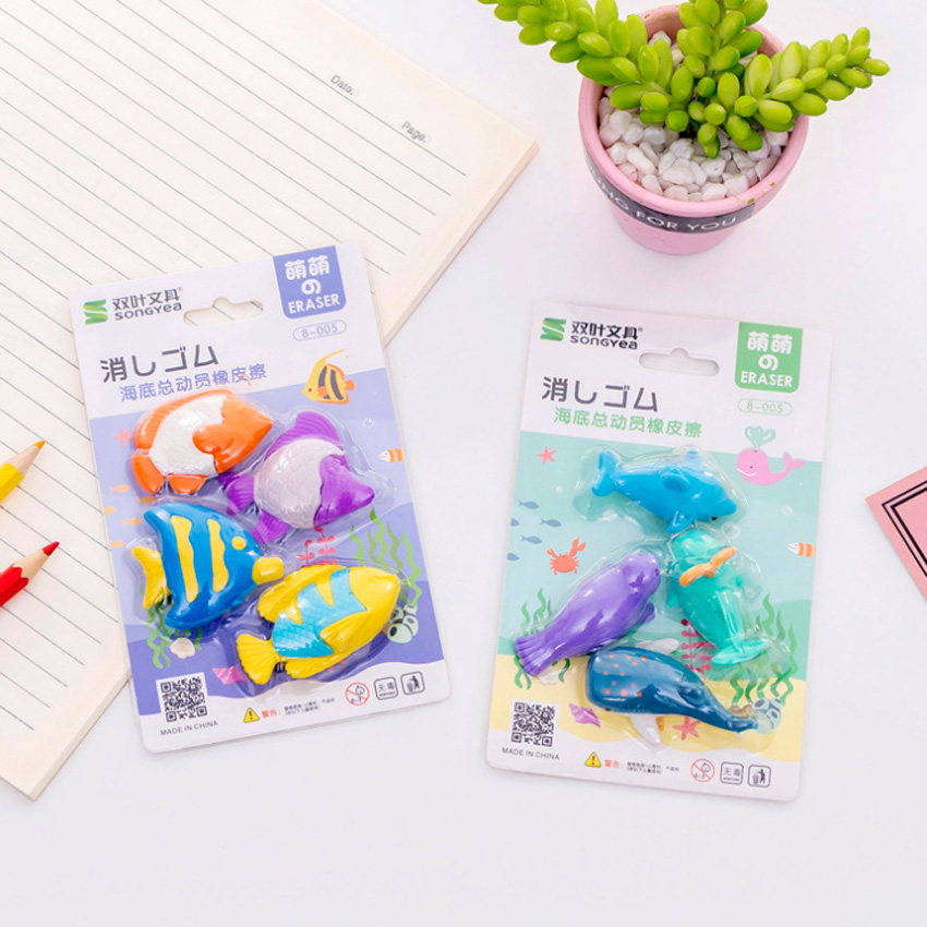 4pcs/lot Cute Sea Animals Whale Shark Dolphin Fish Cartoon Rubber Pencil Erasers School Prizes Kid Gifts