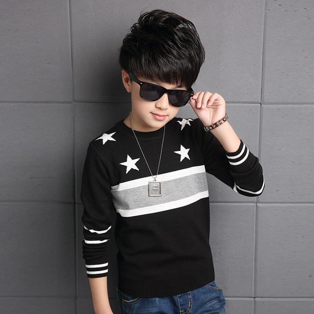2016 Toddler Boys Pullovers Long Sleeve New Korean Winter Style Long Sleeve O-neck Thickening Fashion Knitted Sweaters