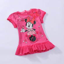 Retail short sleeve baby girl Minnie mouse summer dress tutu lace dress one piece retail christmas rose fashion 0-2Y RT24