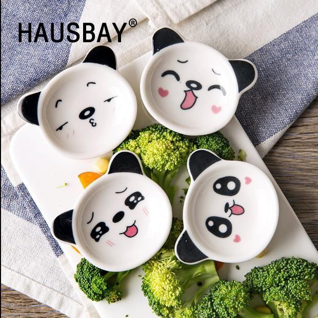 1pc Cartoon Panda Plate Ceramic Small Dish Home Soy Sauce Dish Creative Japanese Tableware Seasoning Saucers Free Shipping 1253