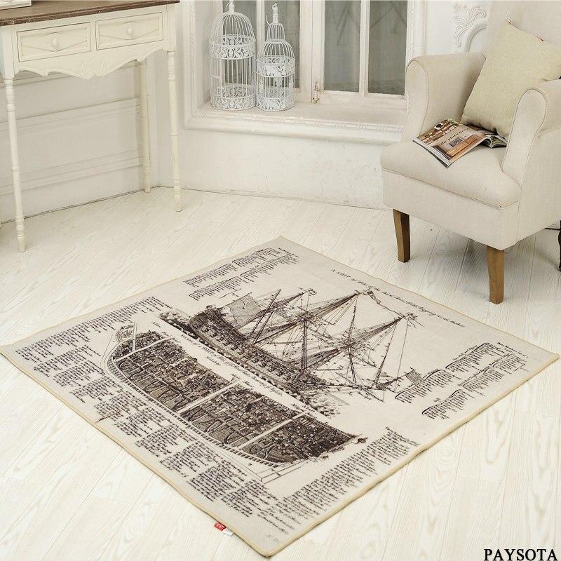 Retro Rug Nostalgic Newspaper Ship Carpet Hall Foyer Mat