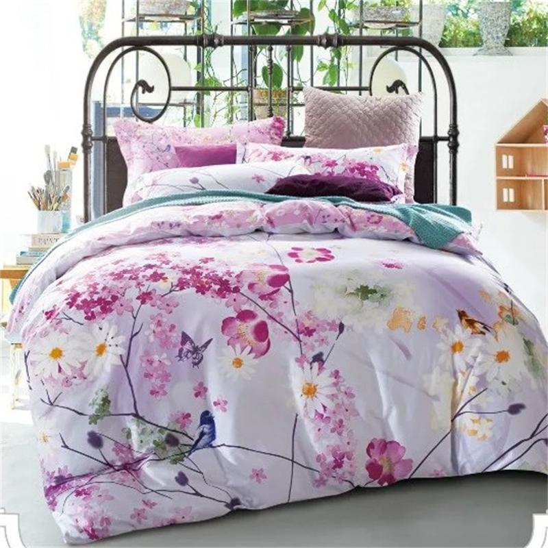 Bright Color Daisy Bird Butterfly Blossom Flowers Bedding Set Queen Size Bed  Sheets Quilt Cover Pillowcase Cotton Home Textiles