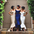 Chic Mermaid Bridesmaid Dresses 2016 Off the Shoulder High Low Satin Prom Gowns Custom Made Hi-Lo Beach Bridesmaid Gowns